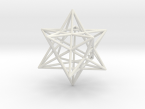 Stellated Dodecahedron 35mm in White Strong & Flexible