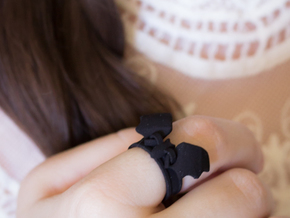 Flying Bat Charm Ring (Size 6.5) in Black Strong & Flexible