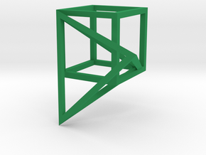 Tetrahedron built into the diagonal of a cube in Green Strong & Flexible Polished