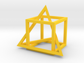 Tetrahedron in captivity of cube in Yellow Strong & Flexible Polished