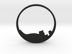Cat Playing Ball Hoop Earrings 40mm in Black Strong & Flexible