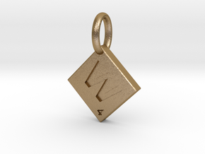 SCRABBLE TILE PENDANT W  in Polished Gold Steel