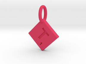 SCRABBLE TILE PENDANT  T  in Pink Strong & Flexible Polished