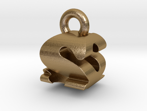3D Monogram - SQF1 in Polished Gold Steel