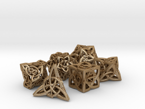 Celtic Dice Set in Matte Gold Steel