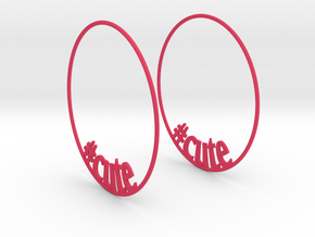 Hashtag Cute Big Hoop Earrings 60mm in Pink Strong & Flexible Polished