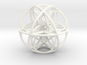 Cuboctahedral Flower of Life Sacred Geometry in White Strong & Flexible Polished