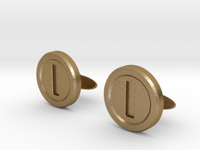 Mario Coin Cufflinks in Polished Gold Steel