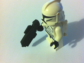 Custom scifi assault rifle x4 for Lego minifigs in White Strong & Flexible