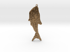 Fish Fossil Pendant With Loop in Raw Brass