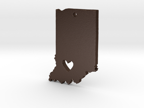 I Heart Indiana Pendant in Matte Bronze Steel