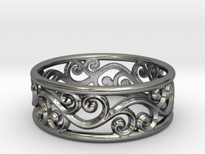 Hollow swirls ring size 7 in Premium Silver