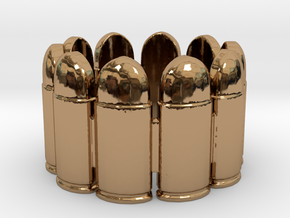 Pistol Bullets, 10, Thick, Ring Size 10 in Polished Brass