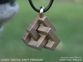 Cubic Trefoil Knot Pendant in Stainless Steel