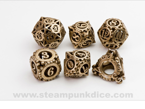 Steampunk Gear Dice Set noD00 in Stainless Steel