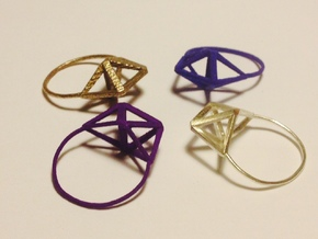 Amplituhedron Ring  in Stainless Steel