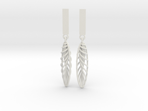 Quark Earrings - Feathers (1rT4FO) in White Strong & Flexible
