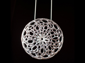 Cellular Pendant in Polished Silver