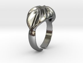 Ring Wave, size 16.8 in Polished Silver
