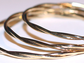 LooseTwist Bangle Bracelet LARGE in Polished Brass