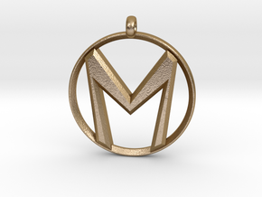 """The Letter """"M"""" Pendant in Polished Gold Steel"""