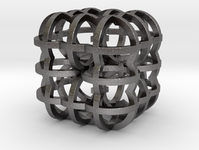 Fractal Cube RB4 30mm in Polished Nickel Steel