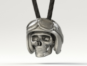 "Easy Rider Skull Pendant ""Silver"" in Polished Nickel Steel"