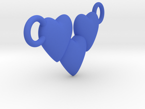 Love Three Hearts (Big Size Pendant) in Blue Strong & Flexible Polished