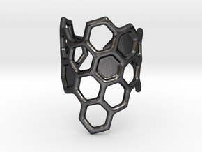 Honeycomb Ring in Polished Grey Steel
