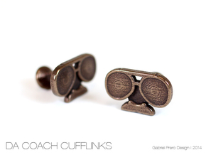 Da Coach Cufflinks - version 2 in Polished Bronze Steel