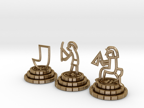 Chess set of Egypt(R,N,B) in Polished Gold Steel