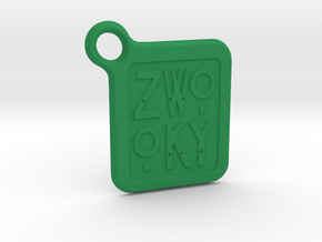 ZWOOKY Keyring LOGO 12 3cm 2mm rounded in Green Strong & Flexible Polished