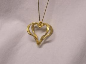 Ribbon Heart Pendant in Polished Gold Steel