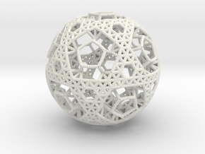 Cell Sphere 2 - Bauble in White Strong & Flexible