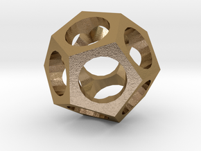 Dodecahedron in Polished Gold Steel