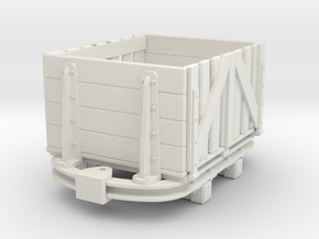 1:35 or Gn15 small skip based slatsided wagon in White Strong & Flexible
