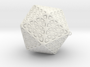 Christmas Tree Ornament Icosahedron Smaller in White Strong & Flexible