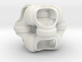 Hollowed Cube with looped pipes #1 in White Strong & Flexible