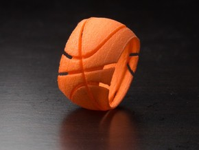 Basketball Ring 19 mm in Orange Strong & Flexible Polished