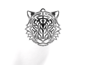 Tiger Head Pendant in Polished Grey Steel