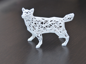 Low Poly Wireframe Husky [8cm Tall] in White Strong & Flexible
