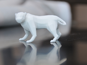 Low Poly Panther [4,5cm Tall] in White Strong & Flexible