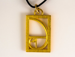 Golden Ratio Pendant in Polished Gold Steel