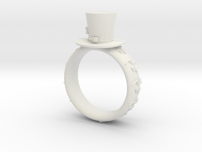 St Patrick's hat ring( size = USA 6.5) in White Strong & Flexible