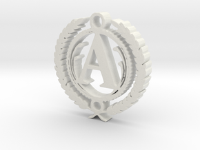 Greek Pendant Letter A in White Strong & Flexible