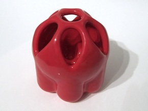 Seven Pen Holder in Gloss Red Porcelain