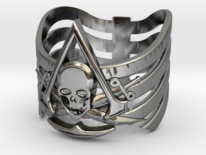 AC pirate ring-med.sizes(15mm/22mm) in Polished Silver