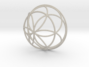 3D 200mm Half Orb of Life (3D Seed of Life)  in Sandstone