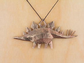 Stegosaurus Pendant in Raw Bronze
