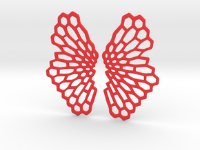 Honeycomb Butterfly Earrings / Pendant in Red Strong & Flexible Polished
